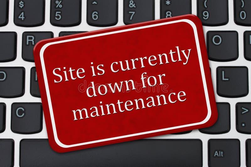 O local é atualmente para baixo para o sinal da manutenção fotos de stock royalty free