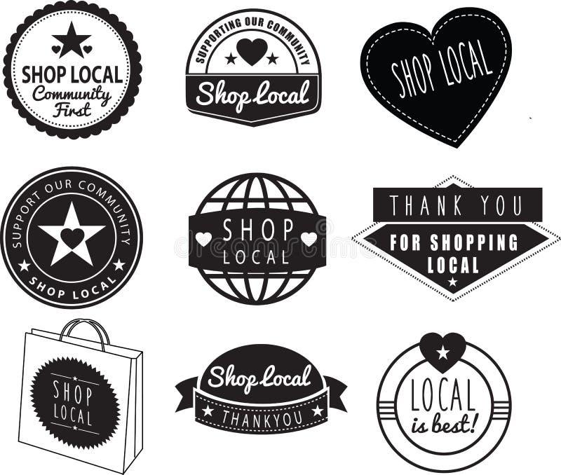O local da loja, a comunidade compra e armazena logotipos ilustração do vetor