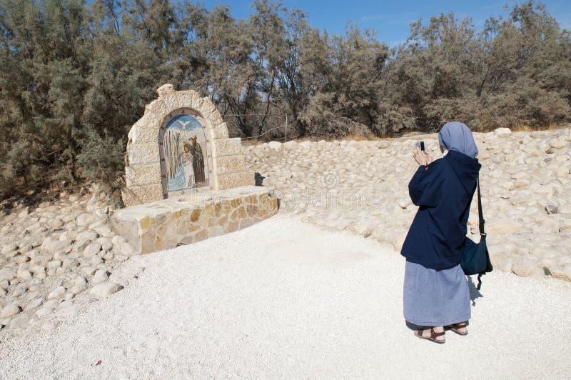 O local do batismo de Jesus imagens de stock