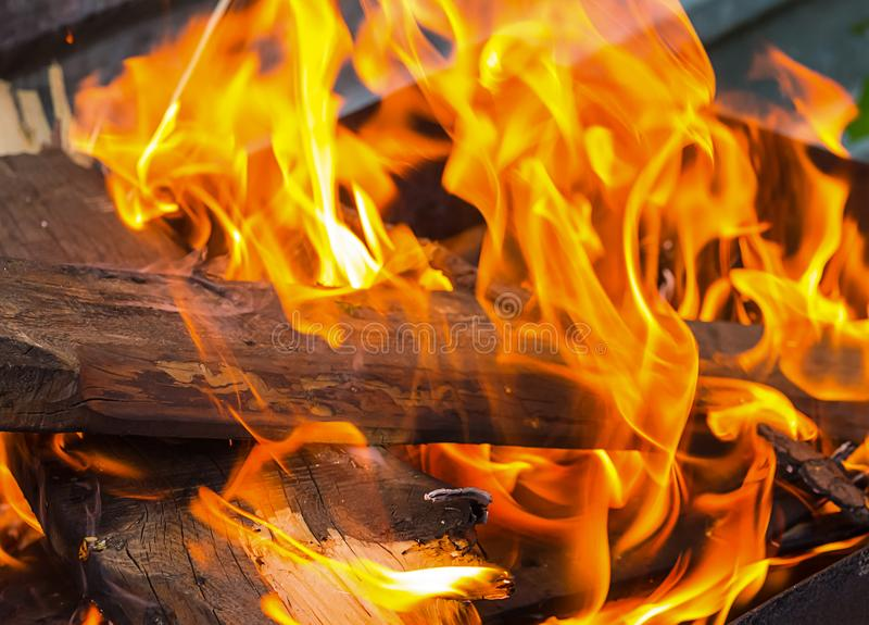 O log de Brown é coberto com uma chama brilhante alaranjada de um fogo fotografia de stock