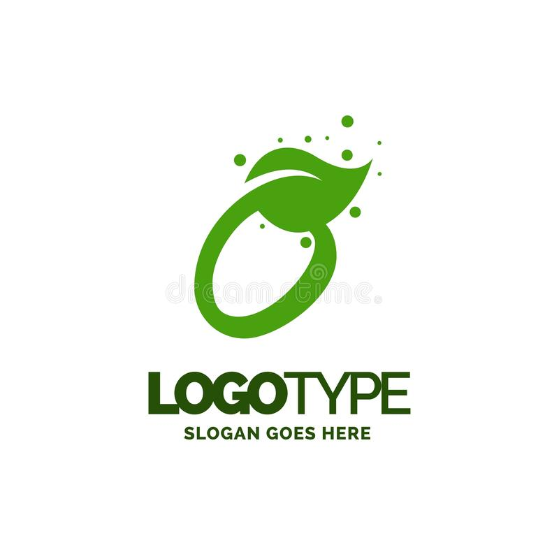 O logo with Leaf Element. Nature Leaf logo designs, Simple leaf. Logo symbol. Natural, eco food. Organic food badges in vector. Vector logos. Natural logos with royalty free illustration