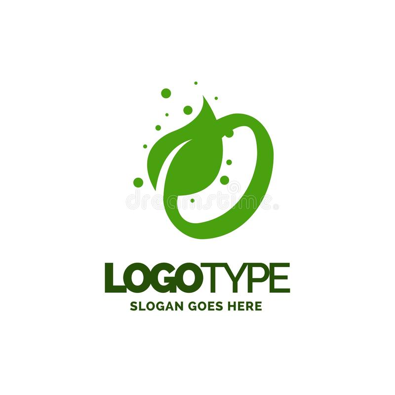 O logo with Leaf Element. Nature Leaf logo designs, Simple leaf. Logo symbol. Natural, eco food. Organic food badges in vector. Vector logos. Natural logos with stock illustration