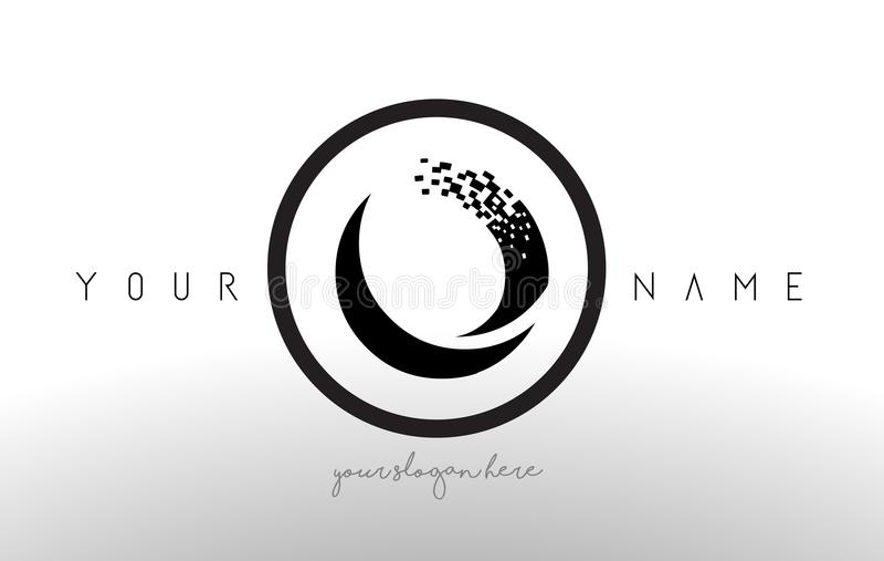 O Logo Letter avec le vecteur de conception de technologie de pixel de Digital illustration stock