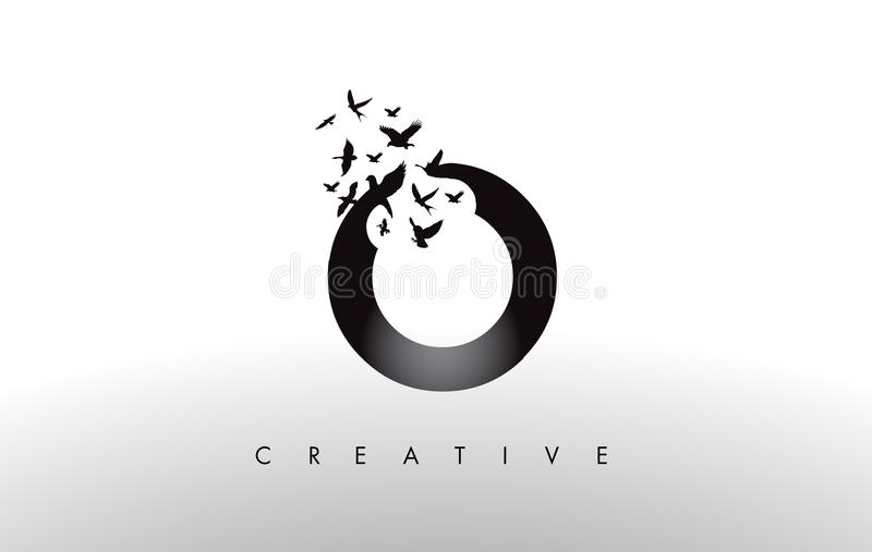 O Logo Letter with Flock of Birds Flying and Disintegrating from vector illustration