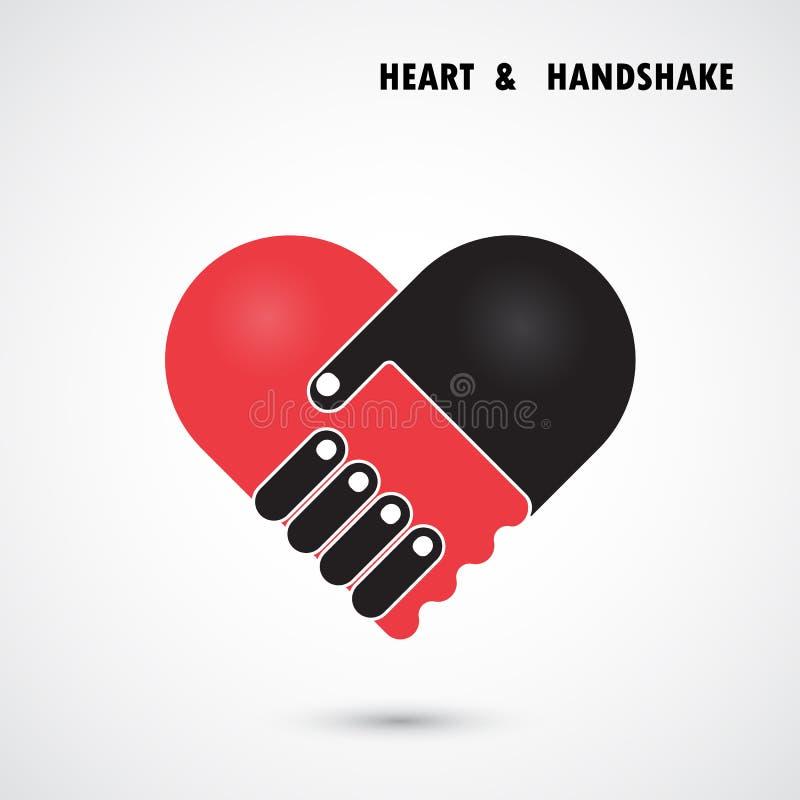 O logotipo abstrato criativo do vetor do aperto de mão e do coração projeta ilustração do vetor