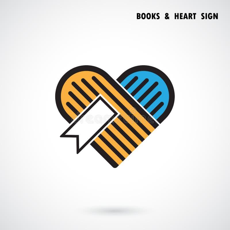 O logotipo abstrato criativo do vetor do livro e do coração projeta Livrarias ilustração do vetor