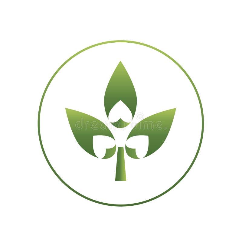 O logotipo abstrato do inclinação de três folha e coração dá forma ao entalhe imagens de stock