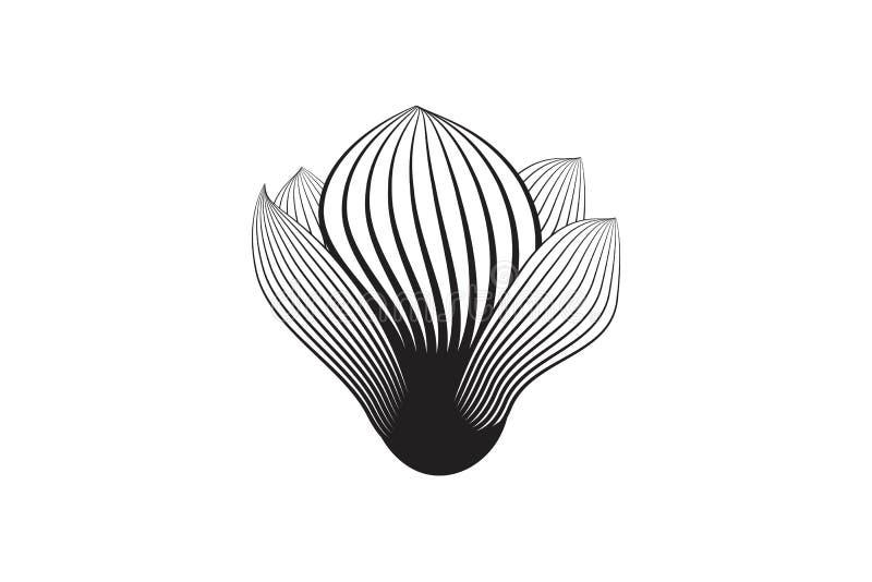 O logotipo abstrato tirado mão da flor ou dos vegetais projeta a inspiração isolada no fundo branco ilustração royalty free