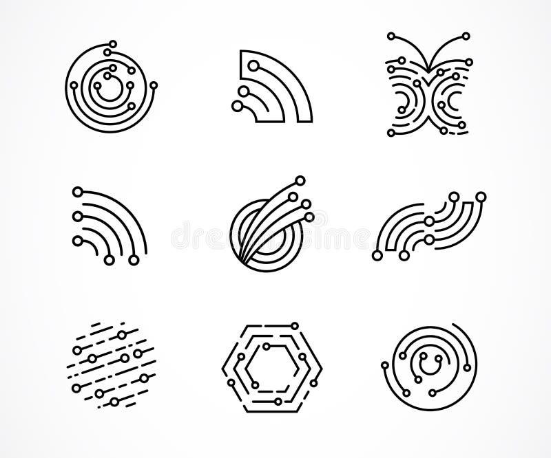 O logotipo ajustou - a tecnologia, os ícones da tecnologia e os símbolos ilustração do vetor