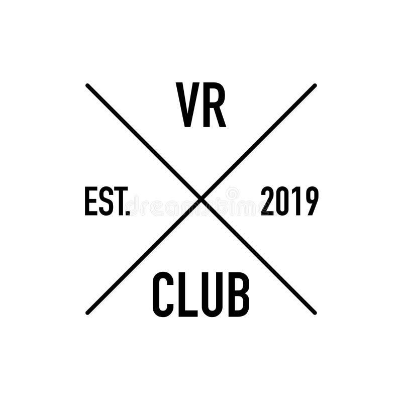 O logotipo aumentado do clube da realidade estabeleceu o fundo branco ilustração stock