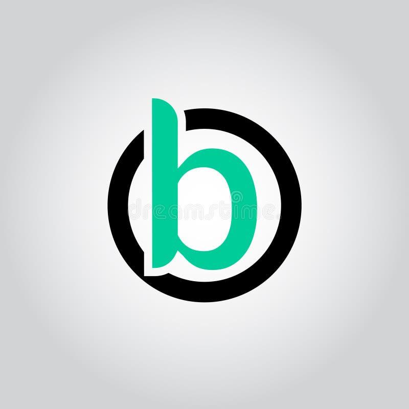 O logotipo B dentro da forma do círculo, OB da letra inicial, BO, B dentro de O arredondou o vetor lowercase da cor preta e verde ilustração royalty free