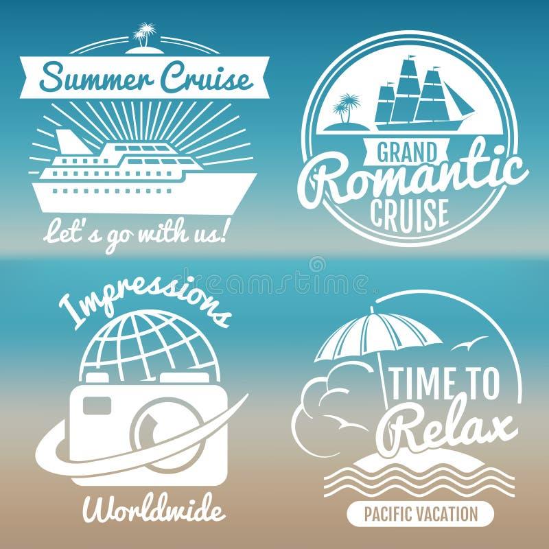 O logotipo branco das férias do vintage ajustou - o curso do verão ilustração royalty free