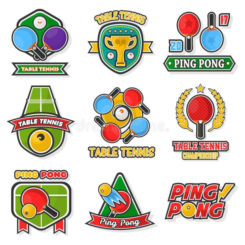 O logotipo colorido do tênis de mesa etiqueta a coleção no branco ilustração royalty free