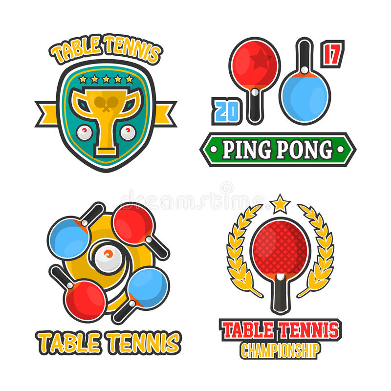 O logotipo colorido do tênis de mesa etiqueta o cartaz do vetor no branco ilustração stock