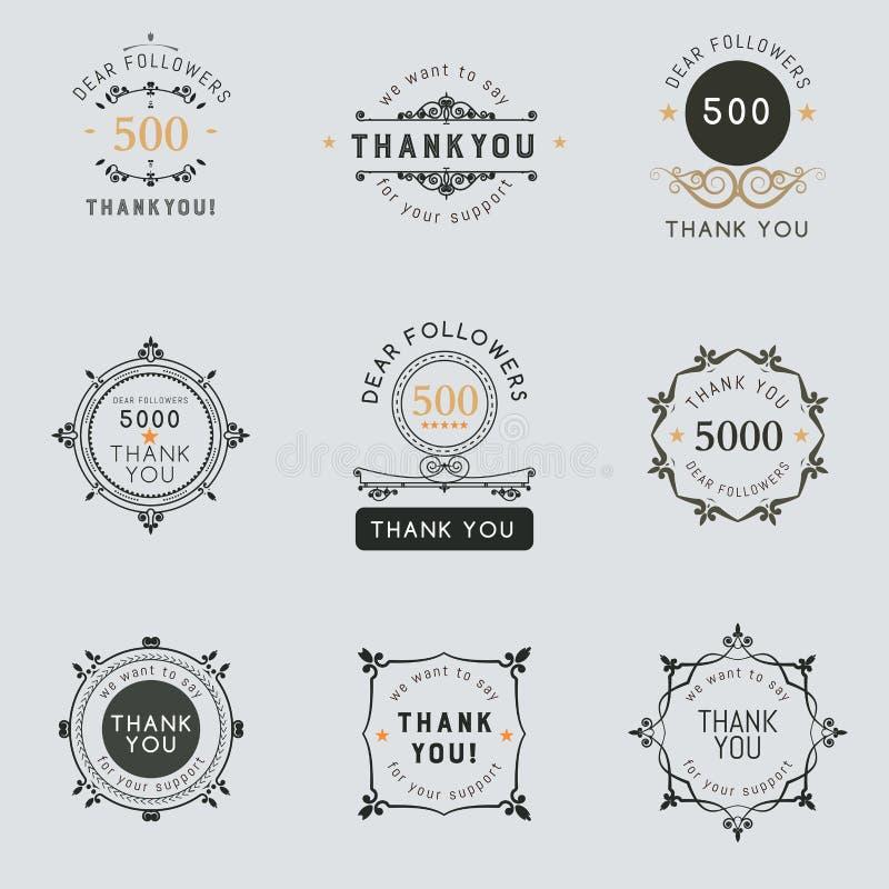 O logotipo com as palavras agradece-lhe para sinais, crachá, etiqueta imagens de stock royalty free