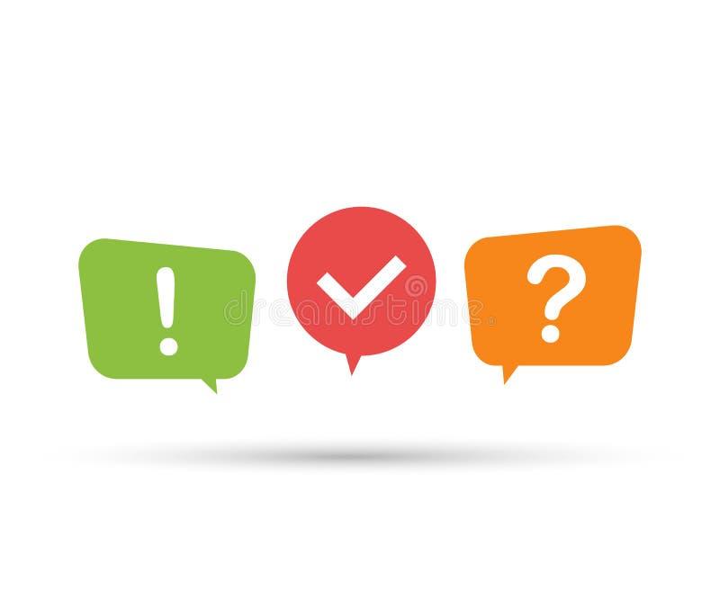 O logotipo com símbolos da bolha do discurso, conceito do questionário da mostra do questionário canta, interroga o botão Ilustra ilustração royalty free