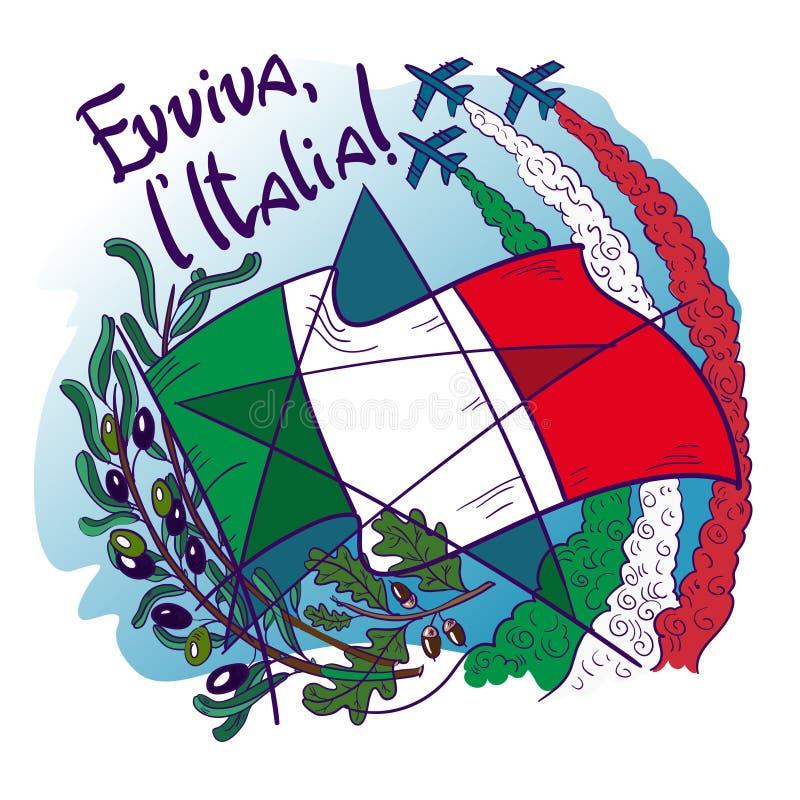 O logotipo contém símbolos de setas tricolour do tricolori de Italia Frecce no céu, no ramo de oliveira, no carvalho, na bandeira imagem de stock