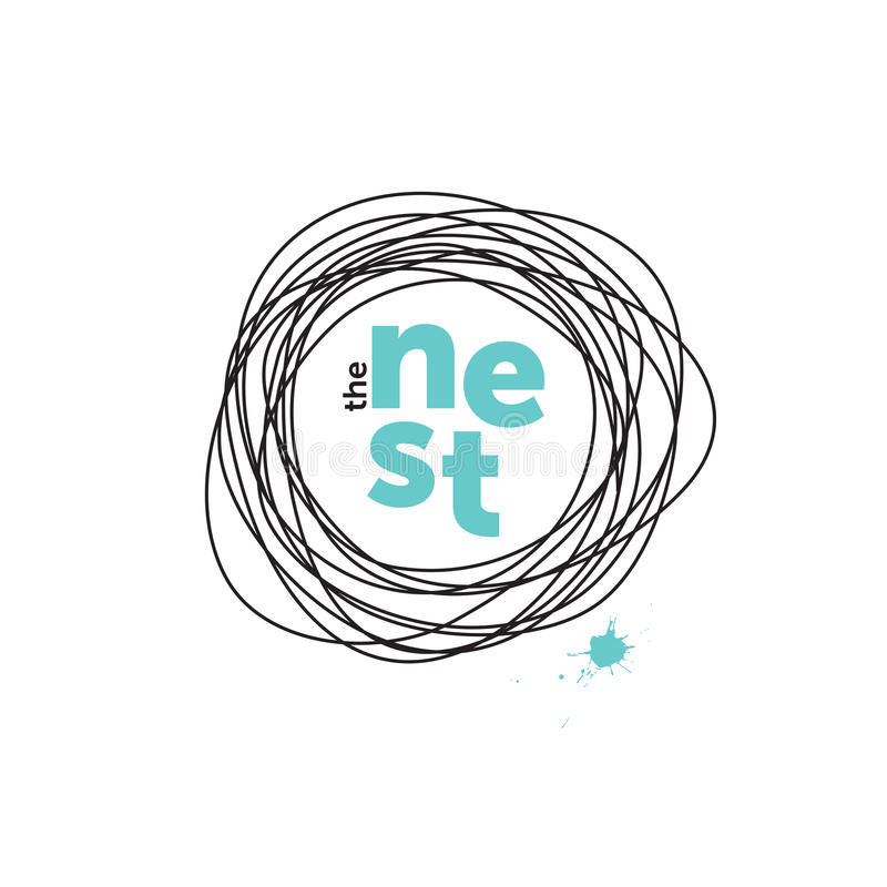 O logotipo criativo do ninho doodling Robin Eggs ilustração royalty free