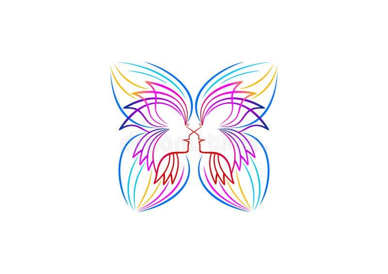O logotipo da borboleta, relaxa, ícone da mulher, símbolo dos termas, ioga, cosmético, massagem, projeto de conceito do bem-estar ilustração do vetor