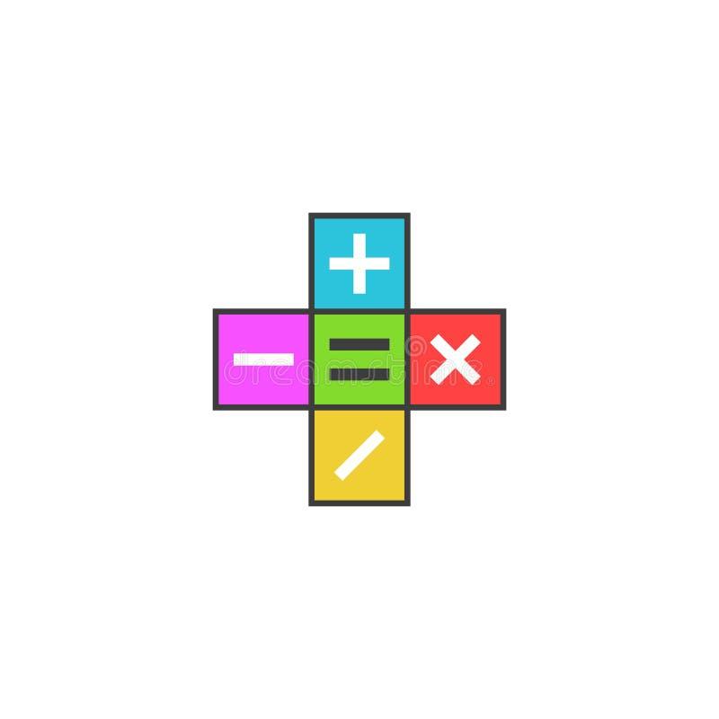 O logotipo da calculadora da matemática, símbolos matemáticos mais, menos, subtrai, multiplica, ícone nas telhas coloridas, plano ilustração royalty free