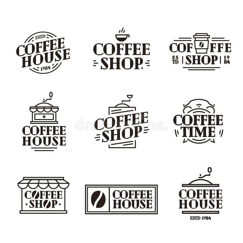 O logotipo da casa e da loja do café ajustou-se com xícara de café de papel, linha preta estilo da cor da máquina ilustração do vetor