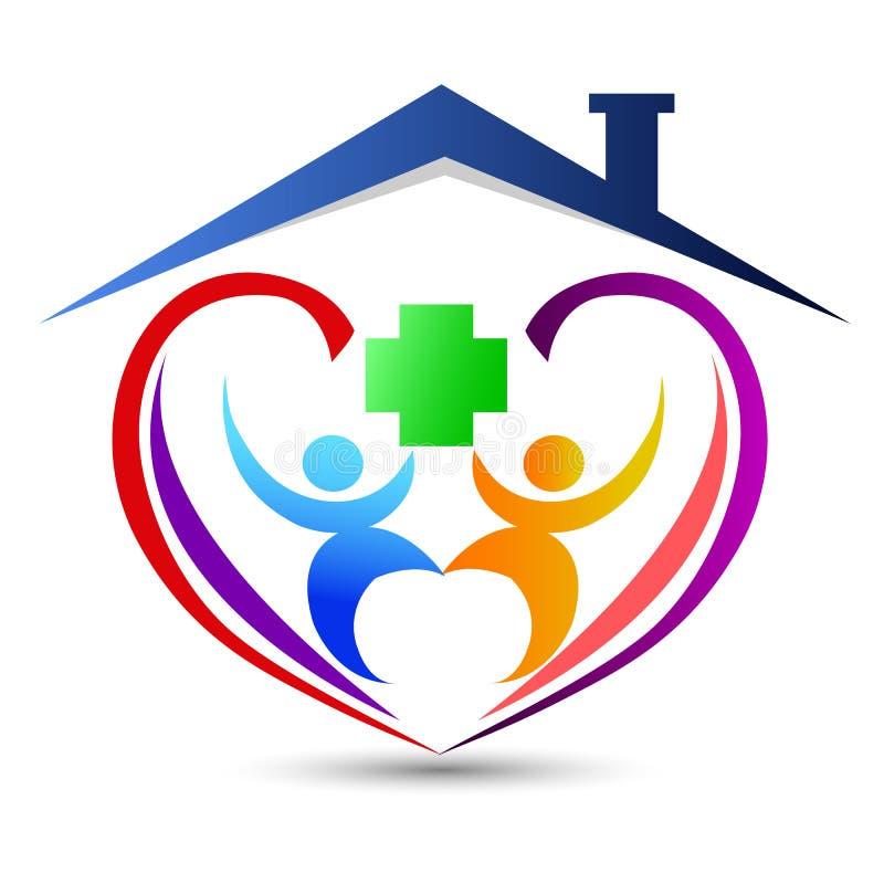 O logotipo da casa da fam?lia/o cora??o feliz uni?o do amor deu forma ao logotipo home da casa ilustração stock