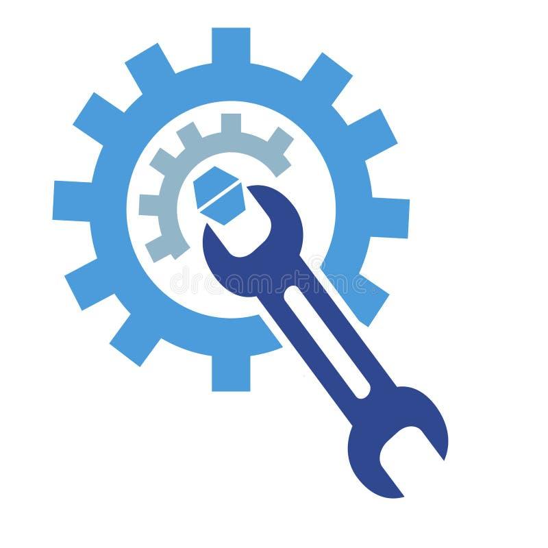 O logotipo da chave da engrenagem ilustração do vetor