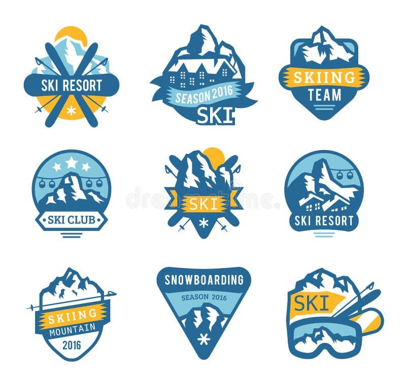O logotipo da estância de esqui simboliza, etiqueta o vetor dos crachás ilustração stock