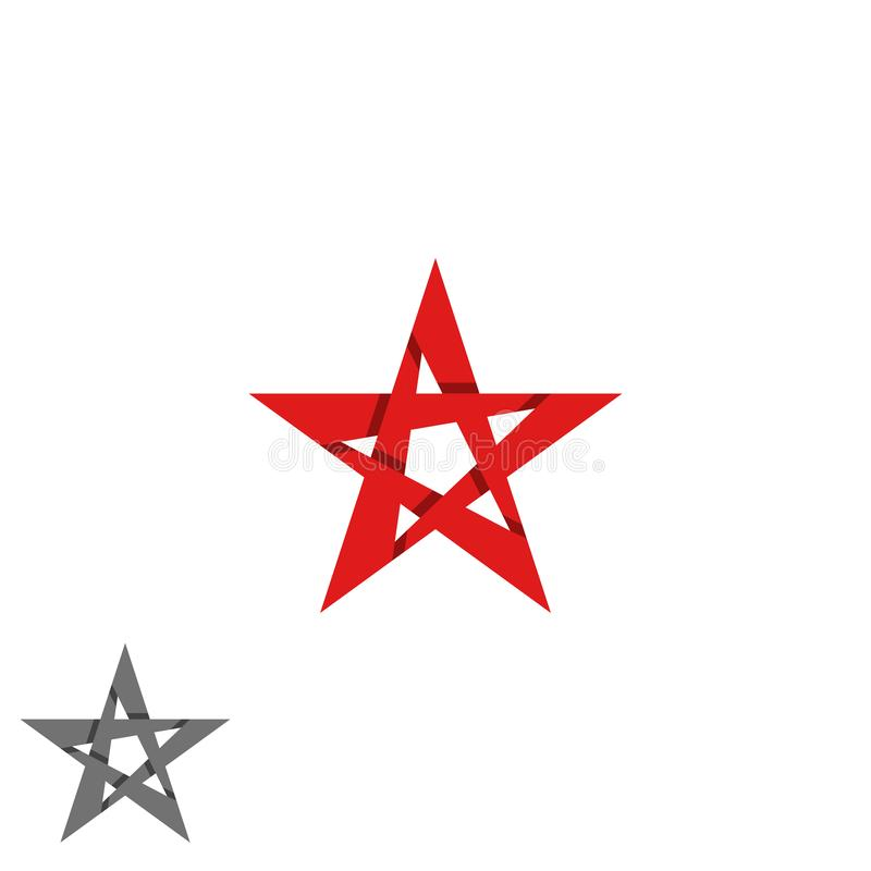 O logotipo da estrela isolou o elemento da decoração do projeto gráfico, tira vermelha da interseção, emblema criativo da ideia p ilustração stock