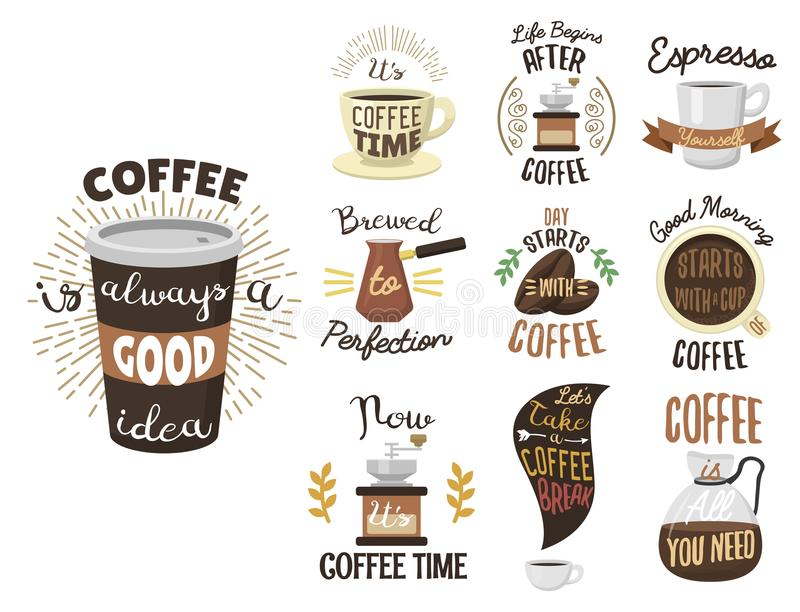 O logotipo da fita das etiquetas da cafetaria do vintage e a caligrafia do vetor dos crachás quebram a rotulação da tipografia ilustração stock