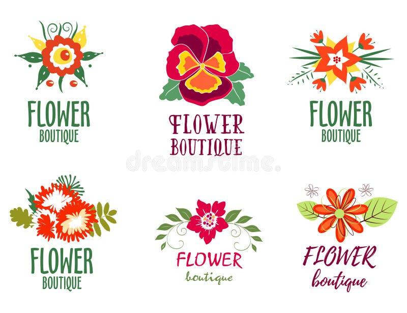 O logotipo da flor ajustou-se - isolado no fundo branco - Vector a ilustração ilustração royalty free