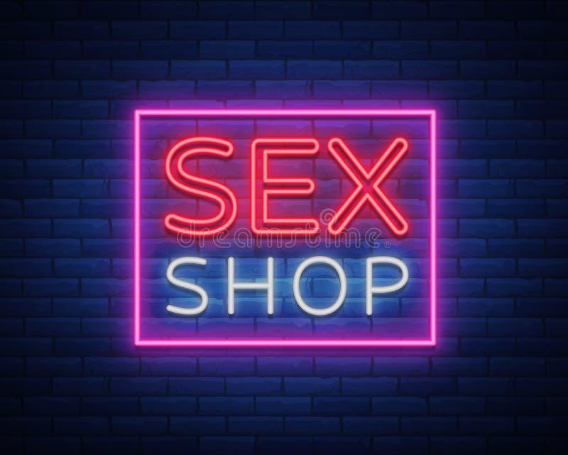 O logotipo da loja do sexo, noite assina dentro o estilo de néon Sinal de néon, um símbolo para a promoção da loja do sexo Loja a ilustração royalty free