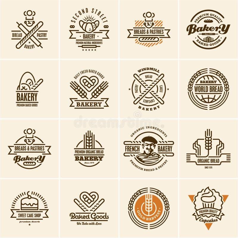 O logotipo da padaria, ícones da padaria ajustou-se, etiquetas da padaria ilustração stock