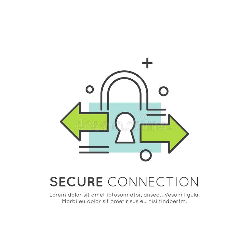 O logotipo da segurança de Cuber, acesso seguro, pagamento, início de uma sessão, cifrou uma comunicação, a proteção da rede e a  ilustração royalty free