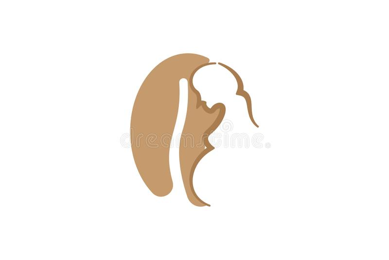 o logotipo das mulheres gravidas e do feijão de café projeta a inspiração isolada no fundo branco ilustração do vetor