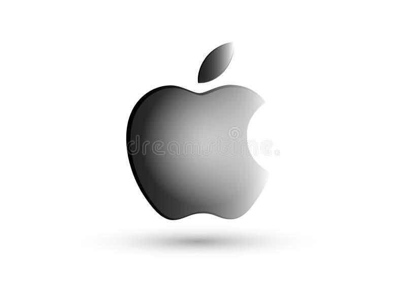 O logotipo de Apple em ilustrações cinzentas para computadores e eu telefonamos no fundo branco ilustração do vetor