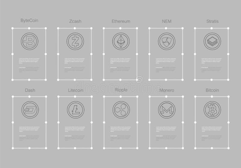 O logotipo de Cryptocurrency ajustou - o bitcoin, litecoin, ethereum, clássico do ethereum, monero, ondinha, stratis do traço do  ilustração stock