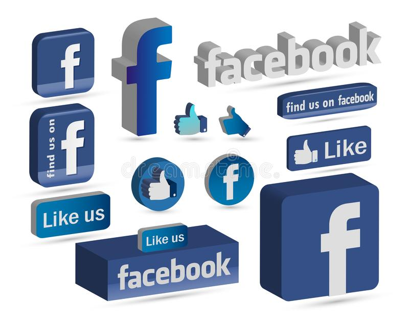 O logotipo de Facebook 3D gosta do ícone dos botões ilustração royalty free