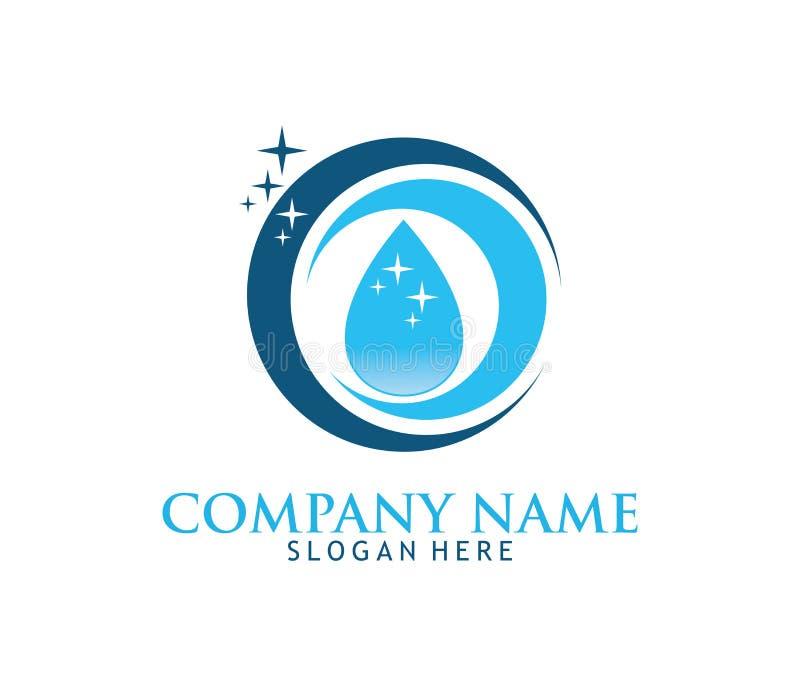 O logotipo de lavagem de limpeza do vetor da manutenção do agregado familiar do serviço projeta ilustração stock