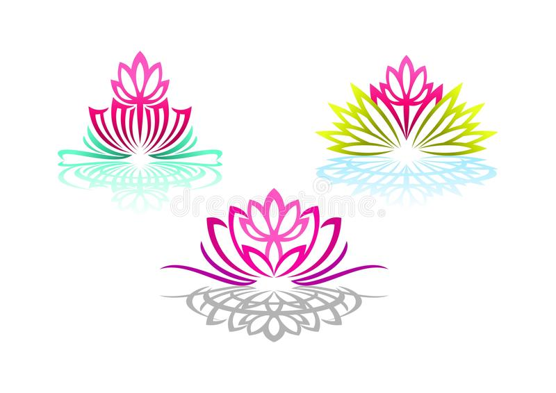O logotipo de Lotus, a ioga da mulher, a massagem da flor da beleza, o sentido bonito dos termas, o bem-estar da reflexão, e natu ilustração do vetor