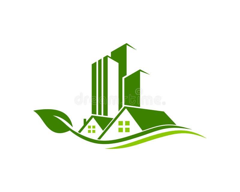O logotipo de Real Estate, da propriedade e da construção projeta para o sinal incorporado do negócio ilustração stock