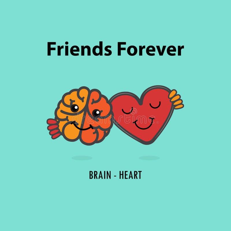 O logotipo do ícone do cérebro e do vetor do coração projeta o molde Coração e cérebro ilustração do vetor