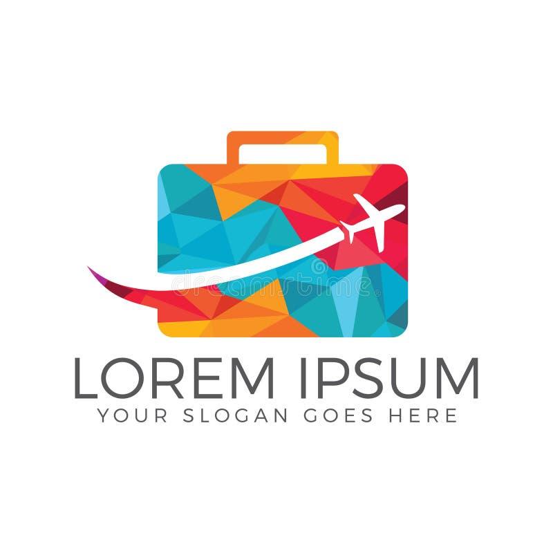 O logotipo do curso e da excursão, da mala de viagem e do saco projeta ilustração stock