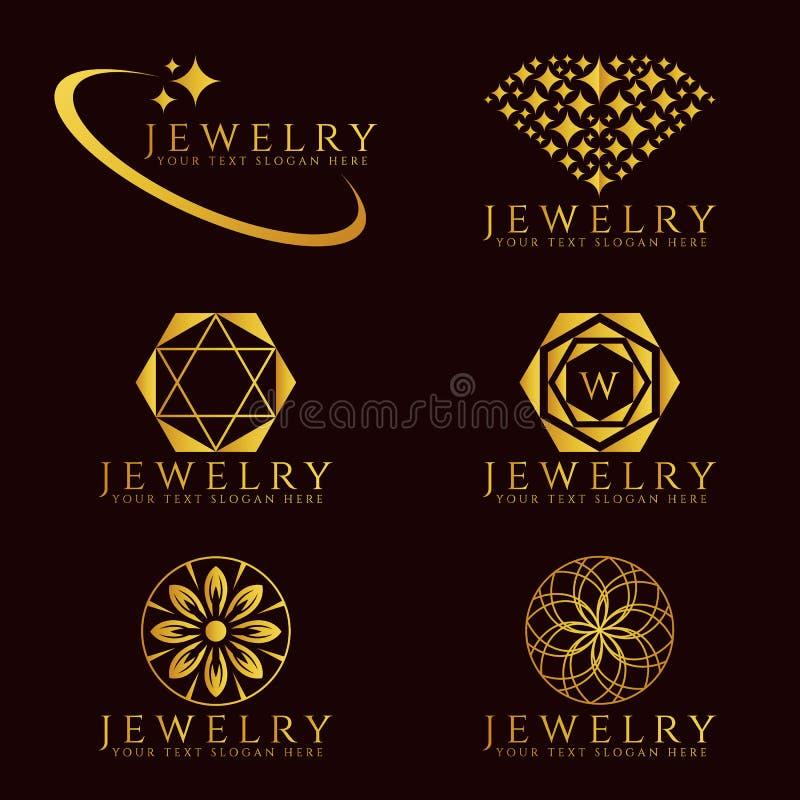 O logotipo do diamante da joia do ouro e o logotipo da flor vector a cenografia ilustração stock