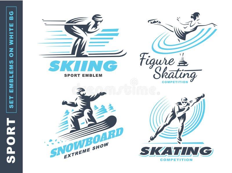 O logotipo do esporte de inverno ajustou-se - vector a ilustração, emblema no fundo branco ilustração stock