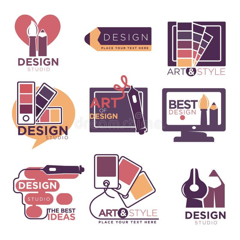 O logotipo do estúdio do projeto etiqueta a coleção isolada no branco ilustração royalty free