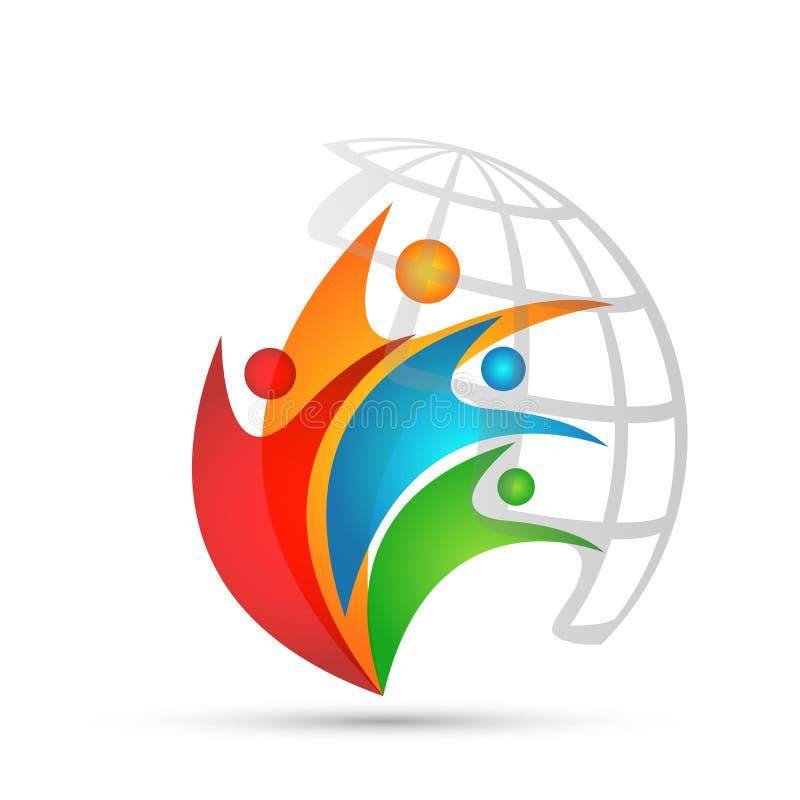 O logotipo do globo e o logotipo colorido do símbolo dos ícones do elemento do ícone dos povos do ícone do relatório projetam no  ilustração royalty free