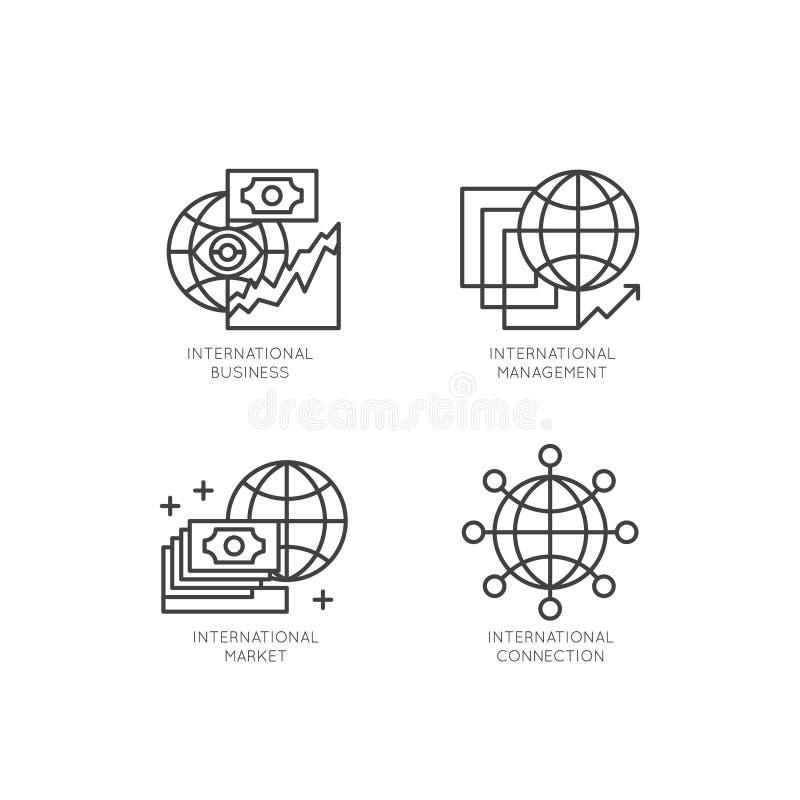 O logotipo do negócio internacional, gestão, mercado, mercado, conexão, isolou o conceito de projeto linear ilustração royalty free