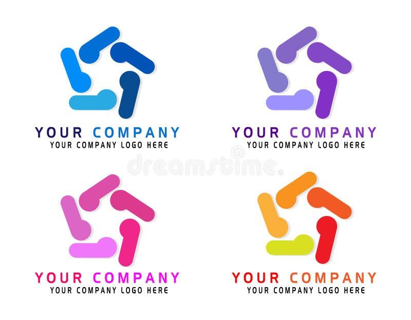 O logotipo do negócio do sumário da empresa dos povos, meio social, Internet, pessoa conecta o tipo ideia do logotipo a rede inte ilustração royalty free