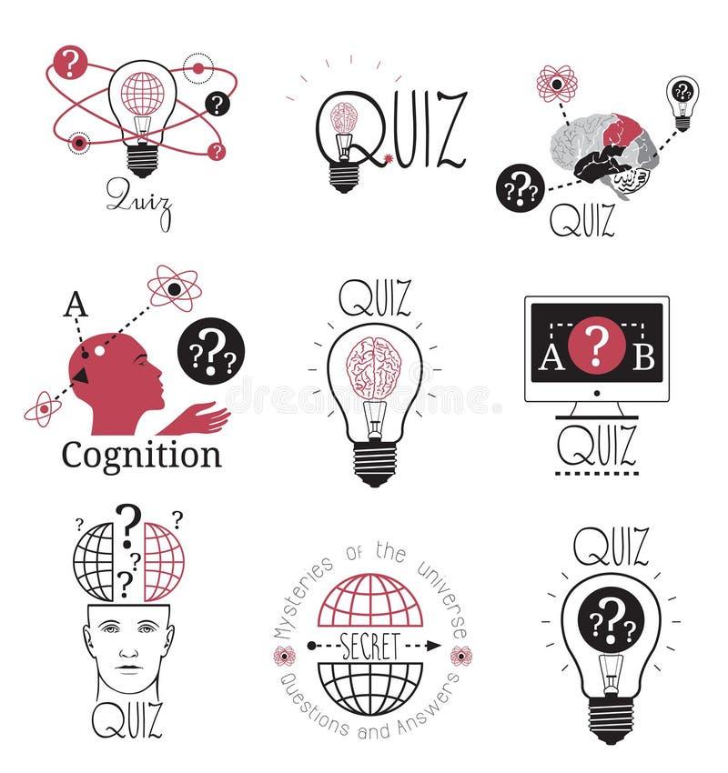 O logotipo do questionário simboliza o elemento do projeto das etiquetas Logotipo dos jogos de mente ilustração stock